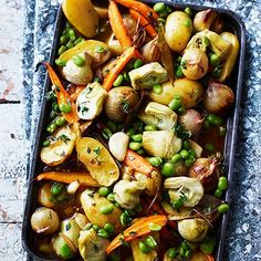 Potatoes, artichokes, carrots and broad beans with preserved lemons