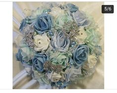 Blue broach artifical bridal bouquet