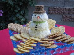 Snowman Cheesball (recipe - Martha Stewart)