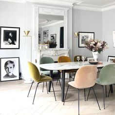 Friday musings...chic Parisian apartment for your viewing pleasure. The colours of these Gubi beetle chairs are ✨ •••For more Interior Design Inspiration and Renovation tips follow @perriedesigns• ••Repost from @aude.jolijour using @RepostRegramApp credit : Stylism and Photography by @aude.jolijour for @lappartementparisien Design conception by the agency @lappartementparisien #parisianstyle #parisianinterior #lappartementparisien #interiordesign #decorationagency #gubi #gubiofficial…