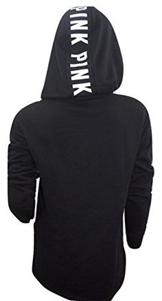 VICTORIA'S SECRET Pink NEW SIDE SLIT FULL-ZIP Hoodie Color Pure Black/White (XSmall)