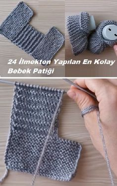 Easiest Baby Shoes Made of 24 Loops - Stricken Diy Crafts Knitting, Knitting Blogs, Arm Knitting, Knitting For Kids, Baby Booties Knitting Pattern, Knit Baby Booties, Baby Knitting Patterns, Crochet Patterns, Crochet Baby Sandals