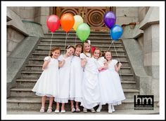Girls turning 8 all in their white dresses.  What an awesome photo idea.  Also could do it for the young women.  Have the value colors represented by balloons and take fun photos at the temple!