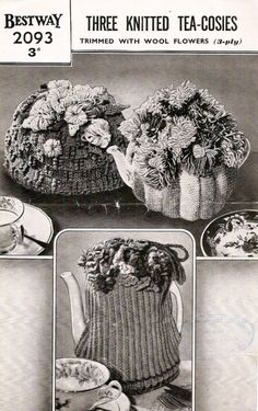 1940 Flower Tea Cosies Vintage Knitting Pattern by knittedcouture