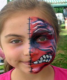 Half face paint monster.