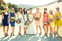 Found on WeddingMeYou.com - Mismatched Bridesmaid Dresses – Color Blocking