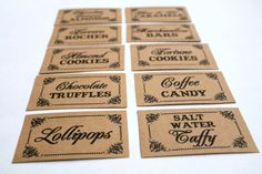 Set of 10- Candy Buffet / Candy Bar / Food Labels / Tags Wedding Signs - I print the names on labels for you via Etsy