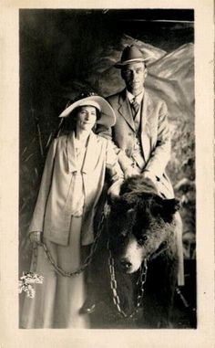Pictures from the past.  Taking a bear to work is obviously the best means of transport ever.