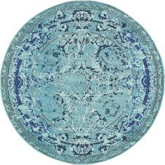Light Blue 6' x 6' Palazzo Round Rug | Area Rugs | eSaleRugs