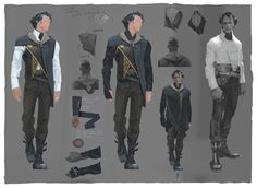from the dishonored 2 artbook corvo's outfit in the game is cool too but i feel a little robbed that it wasn't as extra as this