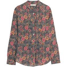 Silena floral-print crepe de chine shirt Étoile Isabel Marant, Black,... (17.735 RUB) via Polyvore