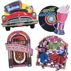 """50s Party Sock Hop Cutouts (4/pkg) $3.60   each is approx. 16"""" high"""