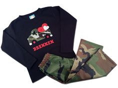 Boy's Valentine Outfit with Camo Truck Heart Shirt by SunbeamRoad