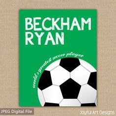 Soccer sign. Custom Name PRINTABLE Sign. Sports Decor. Soccer Sign. Children's Wall Art. Boy Bedroom Decor. DIGITAL file.