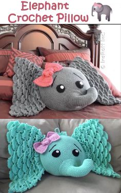 Crochet Elephant Pillow Elephant Crochet Pillow Etsy Find Affiliate Link This Is The Cutest Pillow I Have Ever Seen So Pretty And Such A Cute Pattern For Kids Girls And Boys Cute Crochet, Crochet For Kids, Crochet Toys, Crochet Baby, Crochet Pillow Pattern, Knit Pillow, Crochet Patterns, Crochet Elephant Pattern Free, Cute Pillows