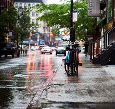 NYC Orchard street. Rainy morning.