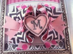 I checked out Pink and Gray Chevron Stacked Bow on Lish, $9.50 USD
