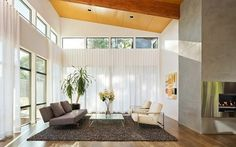 Brilliant Contemporary Design for Home: Small Comfort Living Room White Curtain The Hollcroft Residence