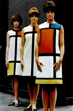 Yves Saint Laurent Mondrian Dress One of the most iconic dresses of the century. The ultimate icon of the mod era, the Mondrian dress popularized the modernistic look with its sleek, simple lines and straight yet flattering cuts. The Mondrian collecti 60s And 70s Fashion, Fashion Mode, Vintage Fashion, French Fashion, 60s Inspired Fashion, Fashion Art, Sporty Fashion, Ski Fashion, Gothic Fashion