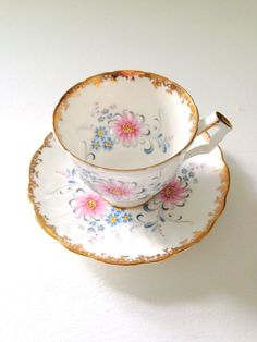 Vintage Aynsley English Bone China Teacup and Saucer Tea Party - c. 1950s