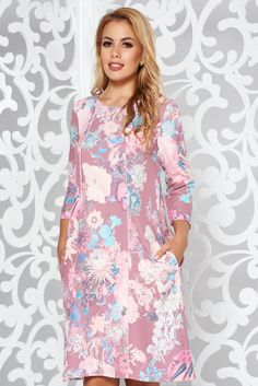 StarShinerS pink elegant midi flared dress slightly elastic fabric with pockets Midi Flare Dress, October 19, Product Label, Elegant Dresses, Pink Dress, Floral Prints, Vibrant, Pockets
