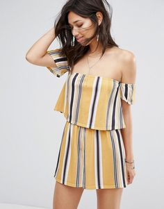 8d013dab20 Boohoo Off The Shoulder Stripe Romper  Promotion Summer Fashion Outfits