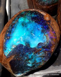 Large full polished Boulder Opal Specimen reveals the interior blue fire.