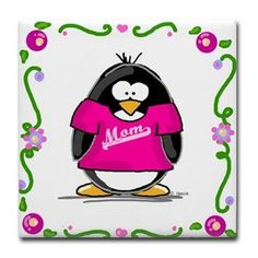 Mom Penguin Tile Coaster