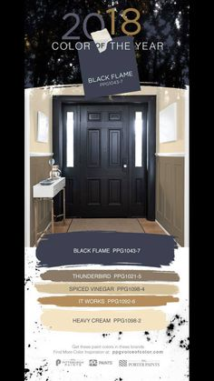 decor 2018 Black interior doors make a statement. Try the 2018 Color of the Year, Black Fla. Black interior doors make a statement. Try the 2018 Color of the Year, Black Flame by PPG in your entryway. Black Interior Doors, Interior Paint, Home Interior, Black Doors, Paint Colors For Home, House Colors, Paint Colours, Wall Colors, Door Design