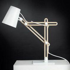 Lampe  poser ou applique murale moderne en métal blanc et chªne
