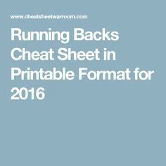 Running Backs Cheat Sheet in Printable Format for 2016