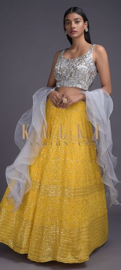 Butter Yellow Lehenga With Fog Grey Embellished Crop Top And Ruffle Dupatta Online - Kalki Fashion Traditional Skirts, Traditional Outfits, Grey Crop Top, Crop Tops, Embellished Crop Top, Yellow Lehenga, Fashion Dresses, Women's Fashion, Half Saree