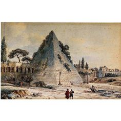 The Pyramid of Caius Cestius  by Victor-Jean Nicolle | From a unique collection of antique and modern drawings at https://www.1stdibs.com/furniture/wall-decorations/drawings/