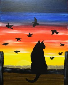 As the cat's eyes watch the glow of the sunset, the crop birds fly by captivating the promiscuous cat's attention. Enjoy the Purrrfect view as your. Picture Rocks, Sunset Art, Color Pencil Art, Painting Inspiration, Colored Pencils, Palette, Birds, Watercolor, Wallpaper
