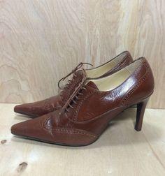 4fb64c9d882b Ellen Tracy Brown Leather Oxford Heels sz 7.5 B Pointed Toe Lace Pumps… Ellen  Tracy
