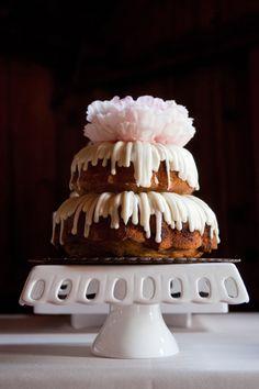 Peony topped wedding bundt cake-blovelyevents.com