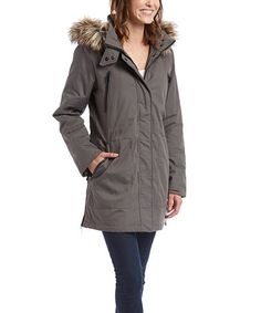 Charcoal Faux Fur Hooded Anorak #zulily #zulilyfinds