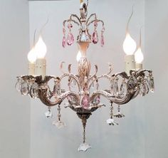White Crystal Chandelier Shabby Chic Porcelain Roses Pink