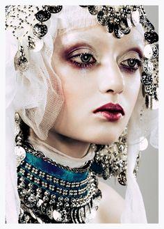 Alina Korol modelling makeup by Ilya Zhukov and John Galliano headpiece