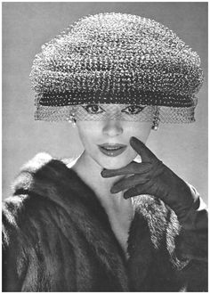 Large domed hat of brown velvet draped in yellow voilette which stops just  past the eyes 61780e147ce