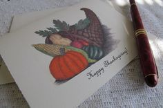 """Note Cards with Pen and Ink Drawing of a """"Horn of Plenty -""""Happy Thanksgiving!"""""""