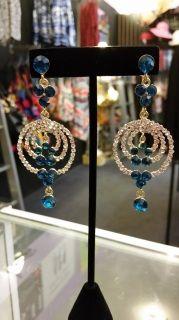 Blinged Sapphire Drop Earrings