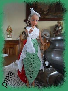 Le défilé des créations -stylistes : Barbie-fleur - Pina Barbie, Crochet, Creations, Victorian, Gowns, Princess, Blog, Dragon, Crafts