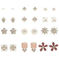 Charlotte Russe Embellished Stud Earrings - 12 Pack ($6) ❤ liked on Polyvore featuring jewelry, earrings, silver, charlotte russe jewelry, earring jewelry, charlotte russe earrings, stud earrings and silver earrings