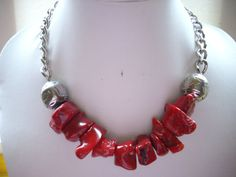 P - Chunky Free Form Red Coral Necklace with by DesignsbyPattiLynn, $50.00