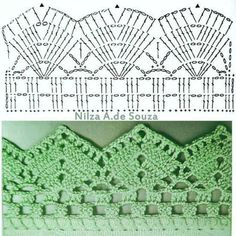 If you looking for a great border for either your crochet or knitting project, check this interesting pattern out. When you see the tutorial you will see that you will use both the knitting needle and crochet hook to work on the the wavy border. Crochet Boarders, Crochet Edging Patterns, Crochet Lace Edging, Crochet Diagram, Crochet Chart, Filet Crochet, Knit Or Crochet, Crochet Designs, Easy Crochet