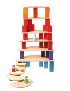 Stunning wooden toys that will engage children in creative play. These toys are the perfect addition to every playroom collections. Grimm's wooden toys and Arco Iris Waldorf, Grimm's Toys, Grimms Rainbow, Little Architects, Brindille, Wooden Rainbow, Birch Ply, Make Pictures, Creative Play