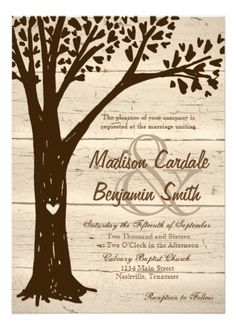 Antique Wood Carved Heart Oak Tree Wedding Invitations.  40% OFF when you order 100+ Invites.  #wedding