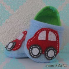 Red Felt Car Decal Baby Slippers Baby Blue Green by genae8design
