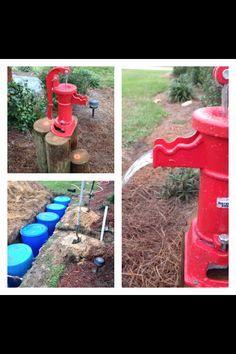 DIY Underground Rain Barrels - Using six 55 gallon barrels, hand pump, & gutters